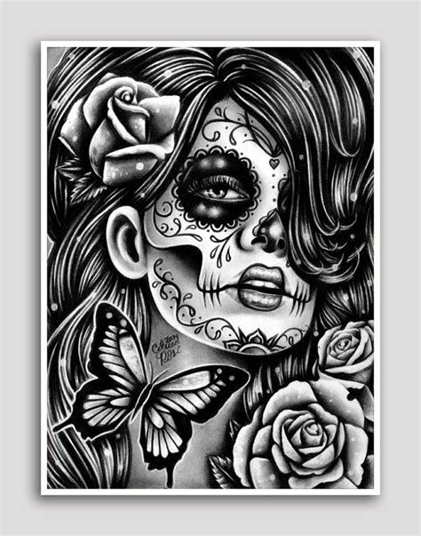 Day of the Dead Poster Sugar Skull Girl Butterfly Tattoo