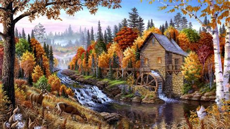 Fall Mill Wooden Mountain River Waterfall Forest With Pine