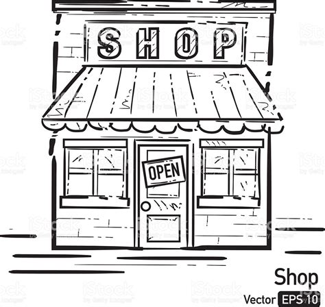 Shop clipart black and white, Shop black and white