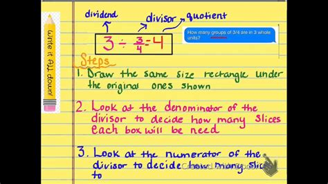 Divide Whole Numbers by Fractions Using Models - YouTube