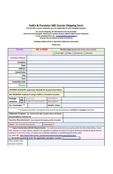 FREE 37+ Shipping Forms in PDF | MS Word | XLS
