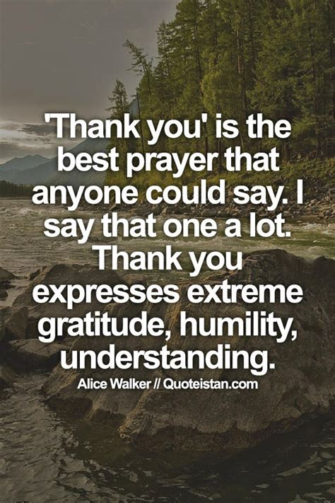 'Thank you' is the best prayer that anyone could say