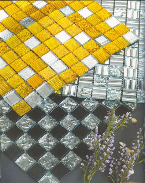 Gold and Silver glass mosaic tile