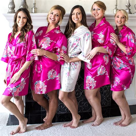 Personalized Floral Satin Bridesmaid Robes - The Man Registry