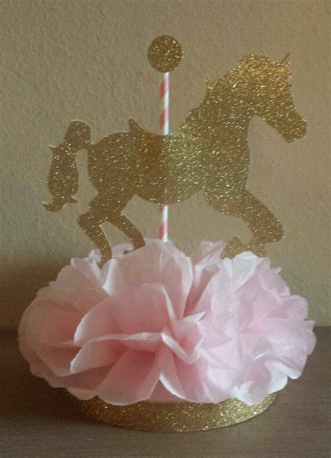 CAROUSEL HORSE PINK GOLD CENTERPIECE BIRTHDAY PARTY BABY