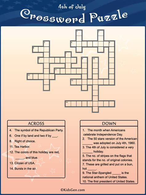 4th of July Colored Crossword template
