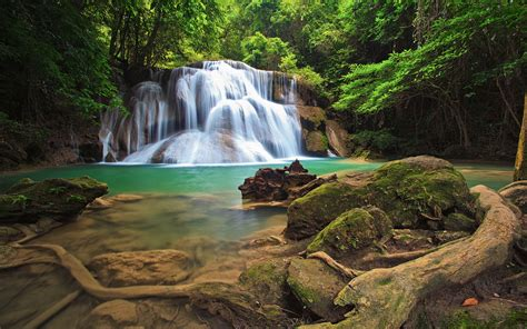 Wonderful Waterfall In The Tropical Forests Of Thailand Hd